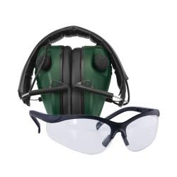 E-Max Lo Pro Elec Muff w/Shooting Glasses CALDWELL